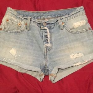 Levi's Cutoff Denim Shorts 25 Button Up